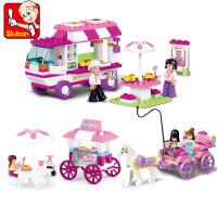 小鲁班儿童力幼儿园玩具拼装积木女孩粉色公主马车
