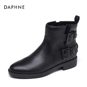 达芙妮集团鞋柜秋冬休闲粗跟女鞋个性圆头方扣短筒靴-1
