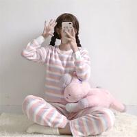 韩观秋冬韩版宽松可爱长袖条纹家居服套装拼色珊瑚绒睡衣睡裤两件套女 均码