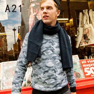 以纯A21男士卫衣圆领春季新款学生春秋打底衫男潮流针织套头长袖上衣