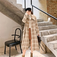七格格毛呢大衣女韩版宽松2019新款冬季学生外套格子中长款上衣潮