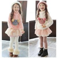 女童冬装新韩国童装卡通高领毛衣+加绒裙裤公主新年儿童套装