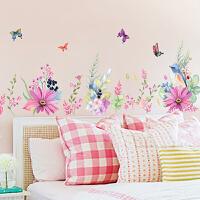 客厅沙发背景墙壁温馨卧室床头房间装饰品墙纸贴画田园花卉墙贴纸