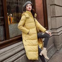 保暖外套时尚修身中长款毛领连帽棉服女士棉衣加厚上衣
