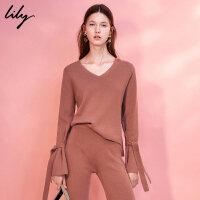 【每满200减100】Lily2017冬新款女装淑女袖口系带毛衣纯色修身毛衣117410B8379