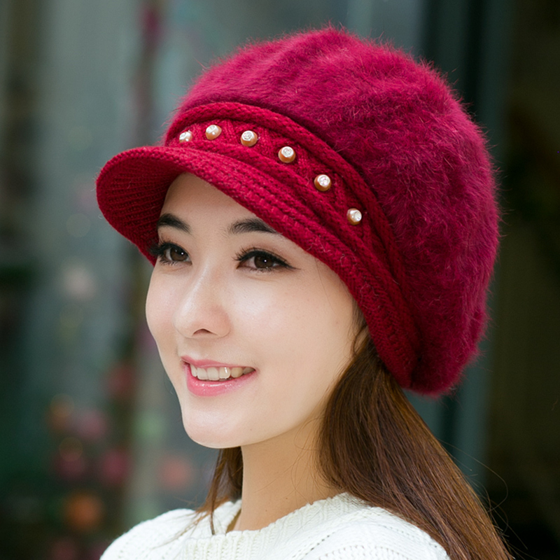 冬季兔毛针织毛线帽女潮贝雷帽中老年帽妈妈帽子