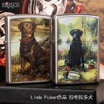 芝宝Zippo打火机 镀铬磨砂彩印 24412黑色拉布拉多犬 Linda Picken作品