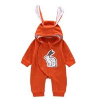 婴幼儿爬服春装男女宝宝外出抱衣带帽卡通0-6-12个月初生儿连体衣