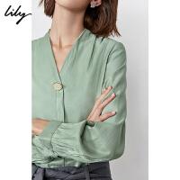 【不打烊价:169元】 Lily2019秋新款女装气质简约H型宽松长袖雪纺衫人鱼姬衬衫8974