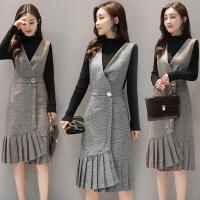 新款秋冬季女装套装潮两件套韩版百搭时尚背带背心连衣裙 FD737咖色