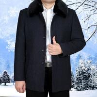 中老年男装棉衣爸爸装中年男士毛呢加厚大码冬装休闲外套棉袄 深蓝色