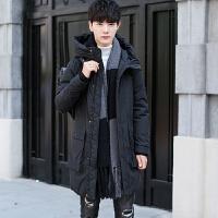 2017冬季中长款羽绒服男士加厚青年连帽白鸭绒修身款韩版时尚外套