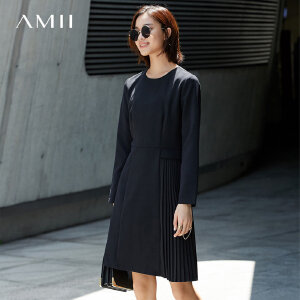 Amii[极简主义]拼接连衣裙2017秋季新拉链收腰层次休闲修身百褶裙
