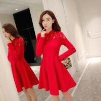 新娘婚纱礼服女新款时尚韩版中长款大红色回门宴会敬酒连衣裙 红色