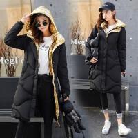 长款棉衣女冬装新款韩版时尚修身拼接撞色连帽保暖过膝潮