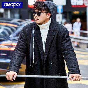 【限时抢购到手价:249元】AMAPO潮牌大码男装秋冬长款毛呢大衣男加肥加大宽松保暖毛呢外套