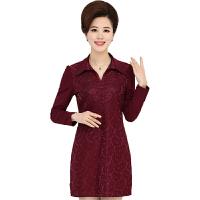 中年妈妈秋冬装加绒t恤蕾丝打底衫中长款衬衫加厚保暖上衣连衣裙