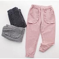 女童春装长裤童装裤子条纹休闲裤中大儿童女孩束脚运动裤