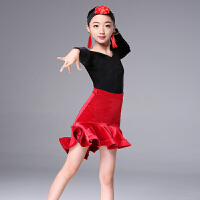 儿童拉丁舞裙女童练功服短袖连衣裙表演服比赛考级长袖舞蹈服装