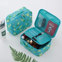 少女心化妆包可爱小号便携大容量多功能简约便携化妆品收纳包 蓝底桔子-A款