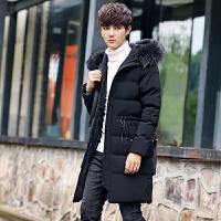 长款棉衣男韩版修身潮流棉袄冬季男士外套加厚青年中长款学生 黑色 M