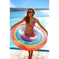 充气彩虹游泳圈加厚救生圈带把手腋下圈儿童泳圈