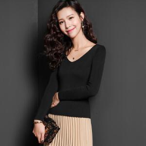 七格格针织衫2017秋装新款韩版女V领百搭气质打底衫露锁骨修身显瘦长袖