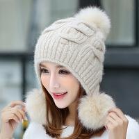 兔毛帽子女冬天针织毛线帽可爱护耳冬季新款双层加厚保暖时尚冬帽