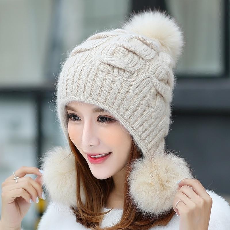 兔毛帽子女冬天针织毛线帽可爱护耳冬季新款双层加厚保暖时尚冬帽 时尚开叉款 修饰脸型 双层保暖