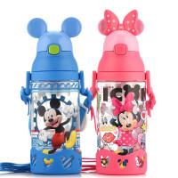迪士尼儿童吸管水杯塑料手柄背带夏便携宝宝学饮杯小孩幼儿园杯子