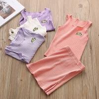夏装女童套装儿童无袖上衣裙子宝宝背心包臀休闲两件套