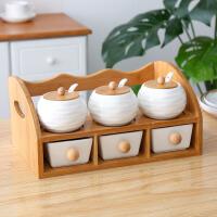 调料盒套装家用陶瓷调味罐调料瓶置物架厨房双层架辣椒盐罐收纳架