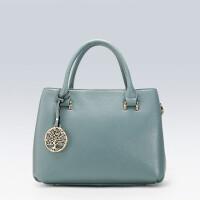 女包手提包新款简约头层牛皮女士包包单肩大包BI 天空蓝(1938)