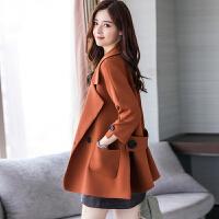 秋冬季中款外套女2017新款韩版百搭时尚中长款风衣外套