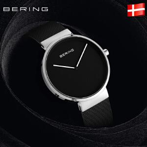 Bering白令新品手表男士时尚黑色钢带正品进口石英表女士腕表
