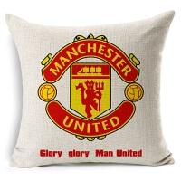 新款欧洲杯被枕头足球俱乐部 曼联足球抱枕 亚麻棉麻沙发抱枕宜家汽车靠垫软装装饰枕 曼联