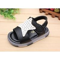 宝宝凉鞋1-2-3岁男童露趾沙滩鞋18夏新款小童软底幼儿学步鞋闪灯