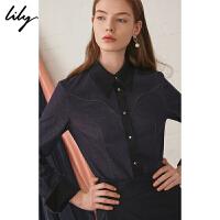 【2件4折到手价:211.6元】 Lily秋新款女装复古帅气辑线拼接长袖牛仔衬衫119350G4254