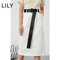 LILY 女装撞色腰带修身铅笔过膝牛仔半身裙120140G6617