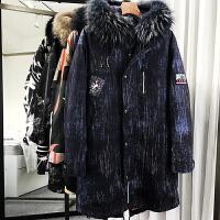 2017冬新款大毛领连帽中长款羽绒服男士加厚派克大衣鹅绒皮草外套