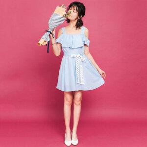 【限时秒杀价76.8】2017夏新款荷叶袖蕾丝拼接甜美露肩腰带显瘦连衣裙L574