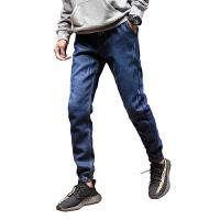 加绒冬季男士修身牛仔裤青少年韩版潮流休闲显瘦小脚裤男学生收腿小脚裤