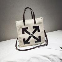 韩国简约商务公文包女帆布箭头单肩包文件包学生书包购物袋