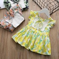 女童短袖上衣夏装淑女宝宝碎花飞袖背心儿童格子娃娃衫