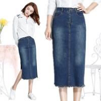 高腰牛仔半身裙女秋冬季韩版中长款开叉一步裙宽松修身显瘦包臀裙