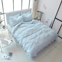 家纺新款家纺床上用品 全棉水洗棉四件套 立体绣花床单款