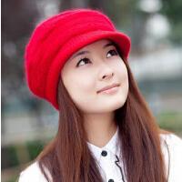 冬季帽子冬天女士防风帽 女潮毛针织帽 可爱毛线帽兔秋