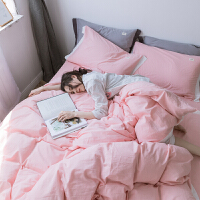 北欧简约色棉水洗双人床单四件套床笠被套单人三件套棉床品