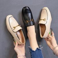 女士复古乐福鞋新款粗跟单鞋女 时尚外穿一脚蹬懒人鞋子女 英伦学院风小皮鞋女