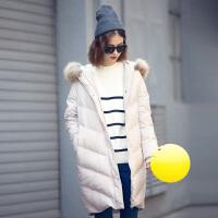 【2件1.5折】唐狮新款冬季羽绒服女中长款羽绒服女韩版潮毛领羽绒服女宽松
